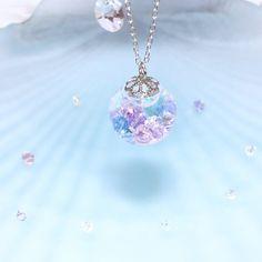 ♡人魚姫の落し物♡*紫陽花色*スノードーム*スワロフスキー
