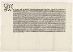 Karel V van Habsburg (Duits keizer en koning van Spanje) | Duitse afscheidsbrief van keizer Karel V aan alle vorsten van Duitsland, 1556, Karel V van Habsburg (Duits keizer en koning van Spanje), Anonymous, 1556 - 1558 | Druk van de Duitse afscheidsbrief van keizer Karel V aan alle vorsten van Duitsland, waarin hij de regering aan zijn broer Ferdinand overdraagt en zich verontschuldigt dat hij niet naar de Rijksdag in Regensburg kan komen omdat hij te ziek is en naar Spanje wil reizen…