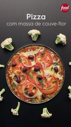 Food network recipes - Pizza com Massa de CouveFlor – Food network recipes Veggie Recipes, Healthy Dinner Recipes, Vegetarian Recipes, Cooking Recipes, Seafood Recipes, Quick Healthy Breakfast, Healthy Pizza, Breakfast Fruit, Tasty Videos