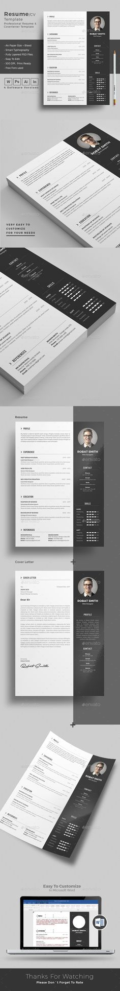 Clean Resume Word Indesign Template Resume Pinterest Resume - how to make resume on word