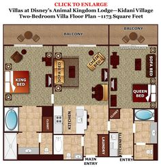 "Two Bedroom at Kidani Village at Animal Kingdom Lodge. Two Bedroom Villas are either combined from a Studio and a One Bedroom Villa (""lockoffs"") or are designed as such from the start (""dedicated""). In the dedicated 2 bedroom, the second bedroom has two queen beds."