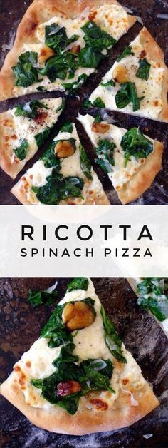 Ricotta Spinach Pizza (Pizza Bianca) is part of pizza Video Love Yum Yum - Italian crispy thin crust Pizza Bianca with ricotta, healthy spinach and roasted garlic Vegetarian Recipes, Cooking Recipes, Healthy Recipes, Skillet Recipes, Gourmet Pizza Recipes, Cooking Gadgets, Cooking Tools, Healthy Foods, Keto Recipes