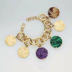2811ee3d6357 Gucci  Flora St. Tropez  18k Gold Amethyst Malachite Tigers Eye Gem Bracelet .