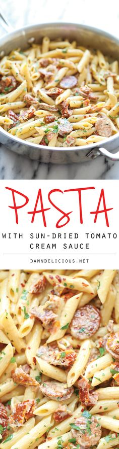 Pasta with Sun-Dried Tomato Cream Sauce - A super easy pasta dish with the most amazing, creamiest sun-dried tomato sauce ever, made in less than 30 min! @damndelcious
