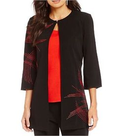 Ming-Wang-Black-Red-BAF-3-4-Sleeve-Embroidered-Knit-Jacket-S