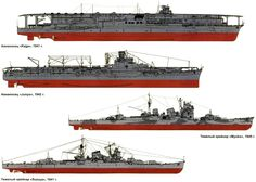 IJN Warships Comparisons of Kaga (CV), Junyo (CV), Myoko (CA) and Suzuya (CA)...