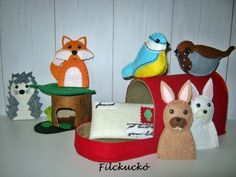 Mesék a piros postaládából - ujjbábbal kombinált játék szett (Filckucko) - Meska.hu Felt Toys, Card Stock, Chain