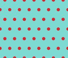 Polka Dot - Red on Aqua fabric by juliesfabrics on Spoonflower - custom fabric Aqua Wallpaper, Print Wallpaper, Red Dots, Polka Dots, Dot Texture, Aqua Fabric, Principles Of Art, Aprons Vintage, Paper Beads