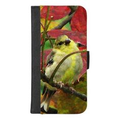 Autumn Goldfinch Bird iPhone 8/7 Plus Wallet Case - animal gift ideas animals and pets diy customize