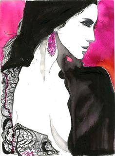 Unveiled, print from original watercolor and mixed media fashion illustration by Jessica Durrant