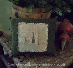 I love it that she used a piece of old Army blanket for this! ~ ideas ~ made by ~ Winter Willow Primitives ~ Under The Willow ~ pattern by Wendy @Pineberry Lane