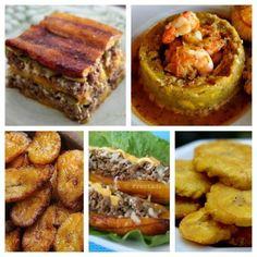 pastelon,mofongo,platano maduro,tostones y relleno de platano