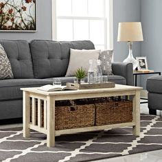 Walker Edison Furniture Co. 40 Inch Wood Storage Coffee Table With Totes White Oak Coffee Table With Baskets, Oak Coffee Table, Coffee Table With Storage, Coffee Mugs, Coffee Beans, Iced Coffee, Wood Storage, Storage Baskets, Table Storage
