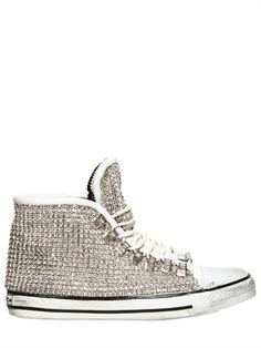 DIONISO  LEATHER AND SWAROVSKI HIGH TOP SNEAKERS