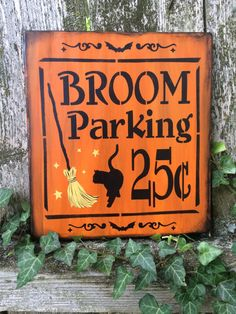 Broom Parking Sign for Halloween by EllentheGardenWitch on Etsy Halloween Door, Halloween Signs, Halloween Crafts, Halloween Ideas, Halloween Decorations, Burlap Canvas, Wood Canvas, Drawing Down The Moon, Parking Signs