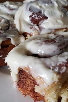 "Clone of a Cinnabon | ""They're really good and have made me a popular gal at potlucks and brunches."" #copycat #copycatrecipes Clone Of A Cinnabon Recipe, Delicious Desserts, Dessert Recipes, Yummy Recipes, Breakfast Bake, Breakfast Ideas, Baked Rolls, Good Food, Yummy Food"