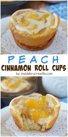 These two-ingredient cinnamon rolls are full of peach pie filling and glaze making a quick and easy breakfast treat.