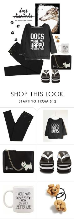 """""""Dogs Make Me Happy!"""" by juliehooper ❤ liked on Polyvore featuring Yves Saint Laurent, Harrods, Rocket Dog, Ponytail Pals, dogs, polyvoreeditorial and slogantshirts"""