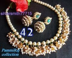 Pammiraj collection White Pearl Mala Pearl Necklace Sets Pearl Earring Designer Fashion Jewellery
