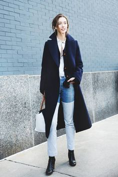 Your Denim Street Style Handbook: 36 Looks To Get You Inspired | Who What Wear Spring Fashion Outfits, Fall Winter Outfits, Autumn Winter Fashion, New York Fashion Week Street Style, Autumn Street Style, Street Fashion, Fashion Fashion, Luxury Fashion, Fashion Trends