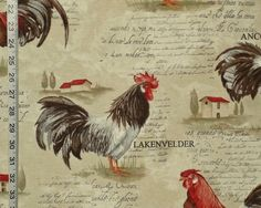 Rooster fabric retro European country chickens document print from Brick House Fabric: Novelty Fabric