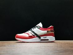 online retailer b74bd 571eb NiceKicks Recommend OFF WHITE x Nike Air Max 1 AA7293-101 Red White Black  Running Sneakers Footwear