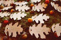 Check out these little felt acorns for a favor/escort card idea!  Photo: Hello Love Photography