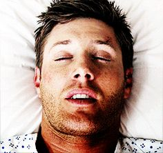 Dean after waking from having his broken leg set in a cast and heavily drugged.