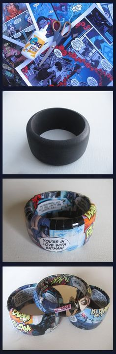 DIY comic book Bangles, Summer Reading 2015