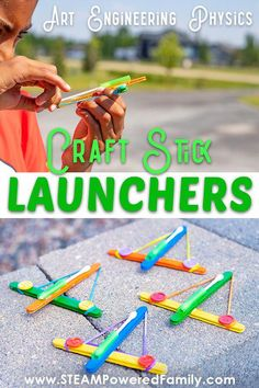 Popsicle stick crafts for a STEAM project that includes art, engineering, physics and a whole lot of fun for kids crafts for boys Engineer Craft Stick Launchers - Quick & Easy STEM Activity Popsicle Stick Crafts For Kids, Crafts For Kids To Make, Craft Stick Crafts, Crafts For Teens, Craft Sticks, Craft Stick Projects, Camping Crafts For Kids, Fun Projects For Kids, Stem For Kids