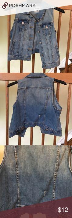 Old Navy jean vest Light blue jean vest that is distressed in some places. Old Navy Jackets & Coats Vests