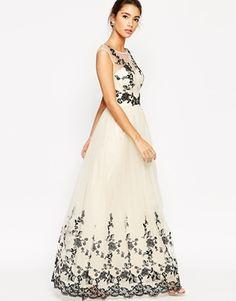 Chi Chi Petite | Chi Chi London Petite Floral Applique Maxi Prom Dress at ASOS