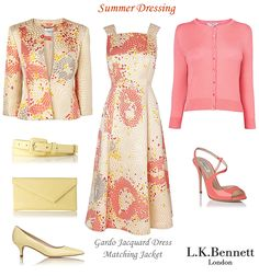 L.K. Bennett summer occasion outfit Gardo jacquard silk mix skater skirt flared dress matching multi print jacket