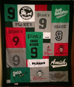 Lucky number 9 t-shirts get a new home in a lasting memory blanket.