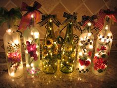 Lighted Wine Bottles Love!!