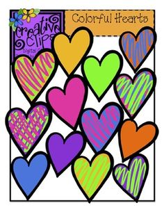 FREE Hearts! This freebie is full of love! There are 13 brightly colored heart images in png formats. There is one black and white image. Personal and commercial use :)