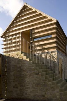 Timber louvre effect cladding Timber Architecture, Timber Buildings, Contemporary Architecture, Architecture Details, Contemporary Barn, Timber Structure, Timber Cladding, Interesting Buildings, Bungalow