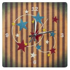 Bright Vintage Circus Stars and Stripes Square Wall Clocks Cool Clocks, Vintage Circus, Cool Walls, Create Your Own, Stripes, Bright, Cool Stuff, Stars, Design