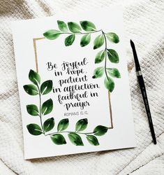 Day 11 of . Rejoice in hope, be patient in tribulation, be constant in prayer. Contribute to the needs of the saints and seek to show hospitality. Scripture Lettering, Scripture Art, Bible Art, Hand Lettering, Bible Verse Calligraphy, Calligraphy Cards, Calligraphy Drawing, Watercolor Lettering, Caligraphy