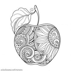 Zentangle Apple 🍎 Coloring Page - Did You Know That There Are Thousands Of Different Varieties Of Apples? Including Fuji, Gala, Red Delicious, Golden Delicious, Pink Lady and Granny Smith. Apple Coloring Pages, Mandala Coloring Pages, Free Coloring Pages, Printable Coloring Pages, Coloring Sheets, Adult Coloring, Coloring Books, Coloring For Adults, Sunflower Coloring Pages