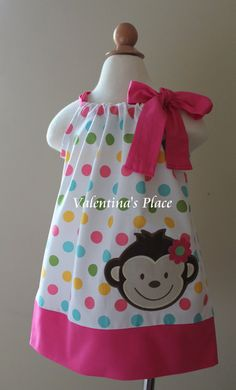 Super Cute Mod Monkey pillowcase dress by Valentinasplace on Etsy Mod Monkey, Sewing Crafts, Sewing Projects, Pillow Dress, Baby Dress, Little Girls, Kids Outfits, Kids Fashion, Baby Girl Fashion