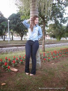 Vivy Duarte: Look do Dia: Camisa Jeans e Calça Flare