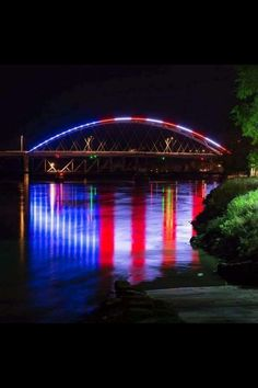 The bridge from Missouri To Kansas. *****(I found out this is the Ameila Earhart Bridge in Atchison, Kansas)***** Look at the reflection in the water. How awesome! I Love America, God Bless America, America 2, American Pride, American Flag, American Freedom, American Spirit, A Lovely Journey, Patriotic Pictures