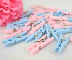 50pcs Small Clothes Pins Baby Shower Favors Pink Blue Party Decorations Girl Boy #BabyShower
