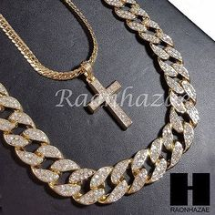 "Mens 14k Gold PT Jesus Cross 15mm Miami Cuban 30"" Iced Out Chain Necklace S90"