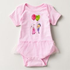 Cute Lily and Rosie Pink Little Girl Baby Bodysuit - diy individual customized design unique ideas