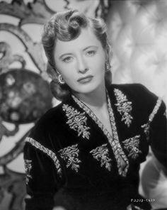 Barbara Stanwyck Close-up in Floral Dress Classic Portrait Premium Art Print