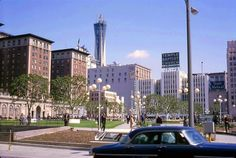 Looking northwest across Pershing Square, 1965 | Biltmore on the left.