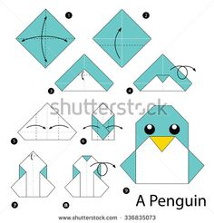 step by step instructions how to make origami A Penguin. - stock vector