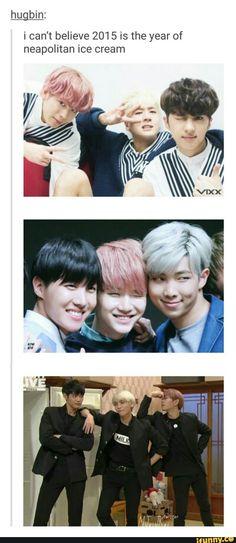 Three my favorite groups in one meme! Bless the person who made this! | VIXX - Hongbin, Ravi, Ken;BTS - Jhope, Suga, Rap Monster;  SHINee - Minho, Jonghyun, Onew